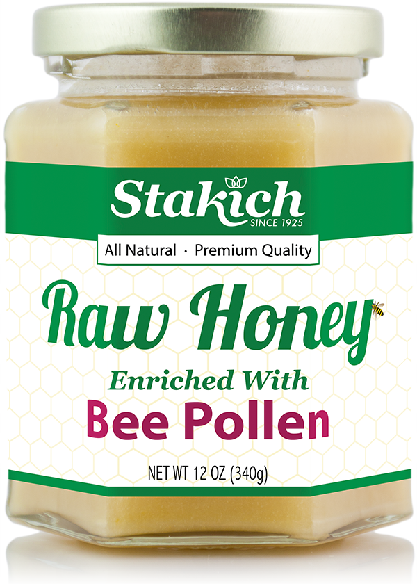 Stakich 12 oz Bee Pollen Enriched Raw Honey