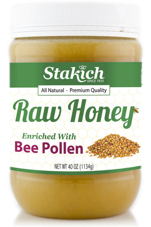 Case of 40 oz Bee Pollen Enriched Raw Honey