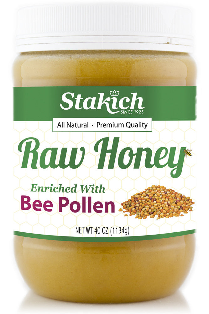 Case of Bee Pollen Enriched Raw Honey (40 oz) - Stakich