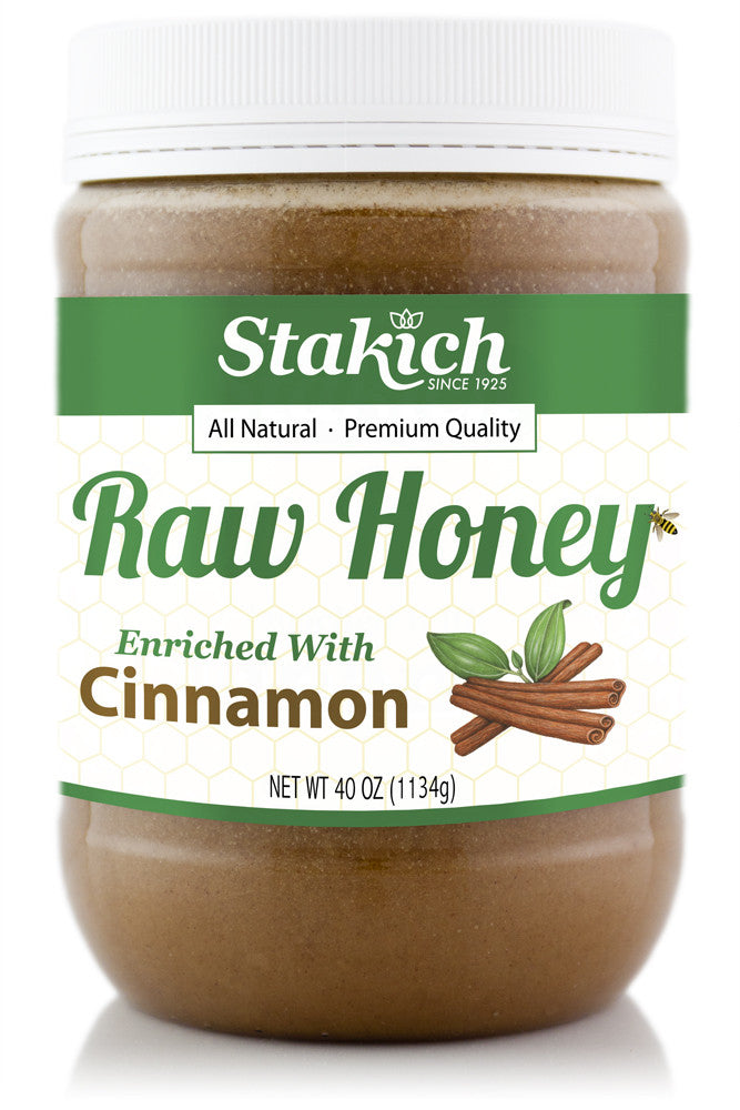 Case of Cinnamon Enriched Raw Honey (40 oz) - Stakich