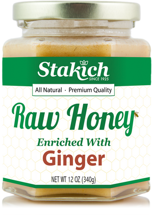 Case of Ginger Enriched Raw Honey (12 oz) - Stakich