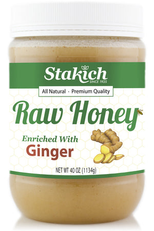 Case of 40 oz Ginger Enriched Raw Honey