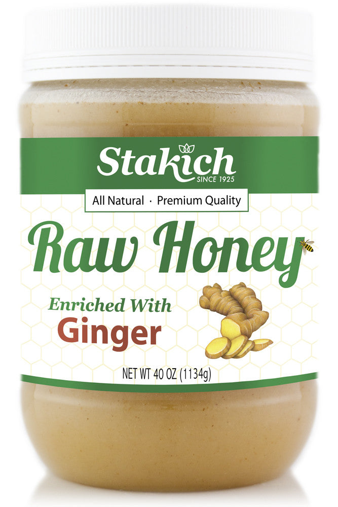 Case of Ginger Enriched Raw Honey (40 oz) - Stakich