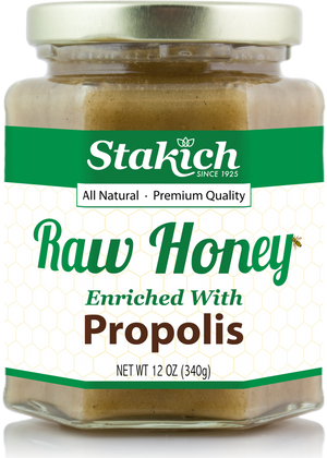 Case of Propolis Enriched Raw Honey (12 oz) - Stakich