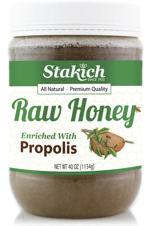 Case of Propolis Enriched Raw Honey (40 oz) - Stakich
