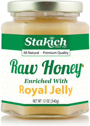 Case of Royal Jelly Enriched Raw Honey (12 oz) - Stakich