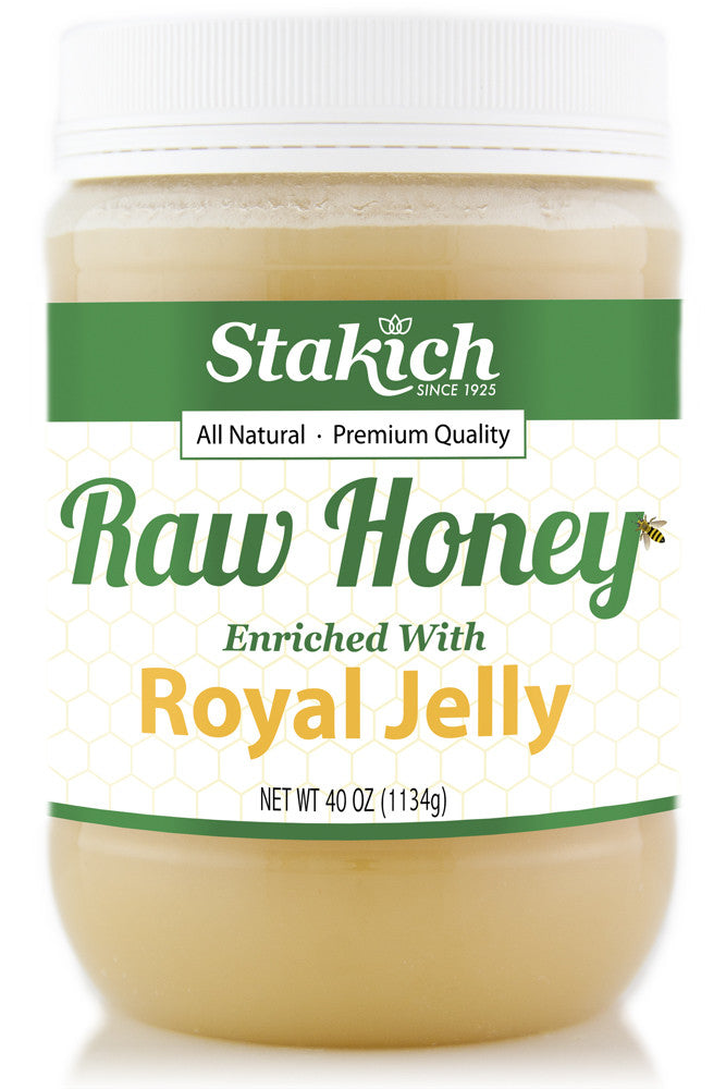 Case of Royal Jelly Enriched Raw Honey (40 oz) - Stakich