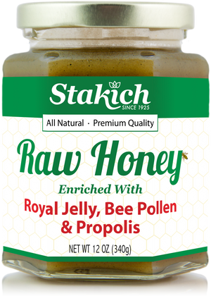 Case of Royal Jelly, Bee Pollen & Propolis Enriched Raw Honey (12 oz) - Stakich