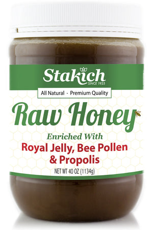 Case of Royal Jelly, Bee Pollen & Propolis Enriched Raw Honey (40 oz) - Stakich