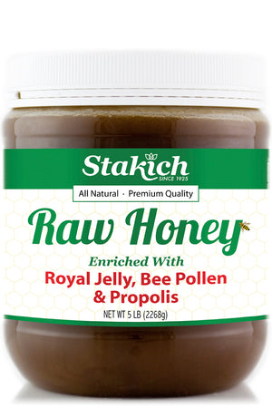 Case of Royal Jelly, Bee Pollen & Propolis Enriched Raw Honey (5 lb) - Stakich