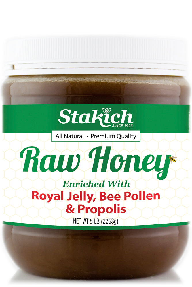 Case of Royal Jelly, Bee Pollen & Propolis Enriched Raw Honey (5 lb)
