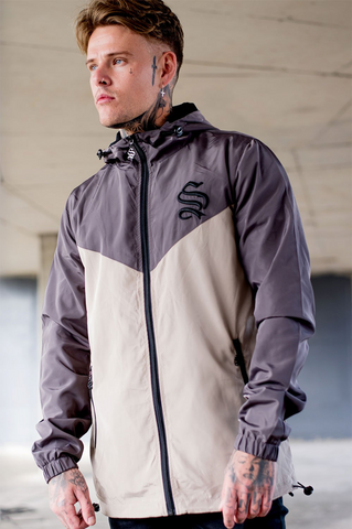 Mens windcheater jacket in grey and beige