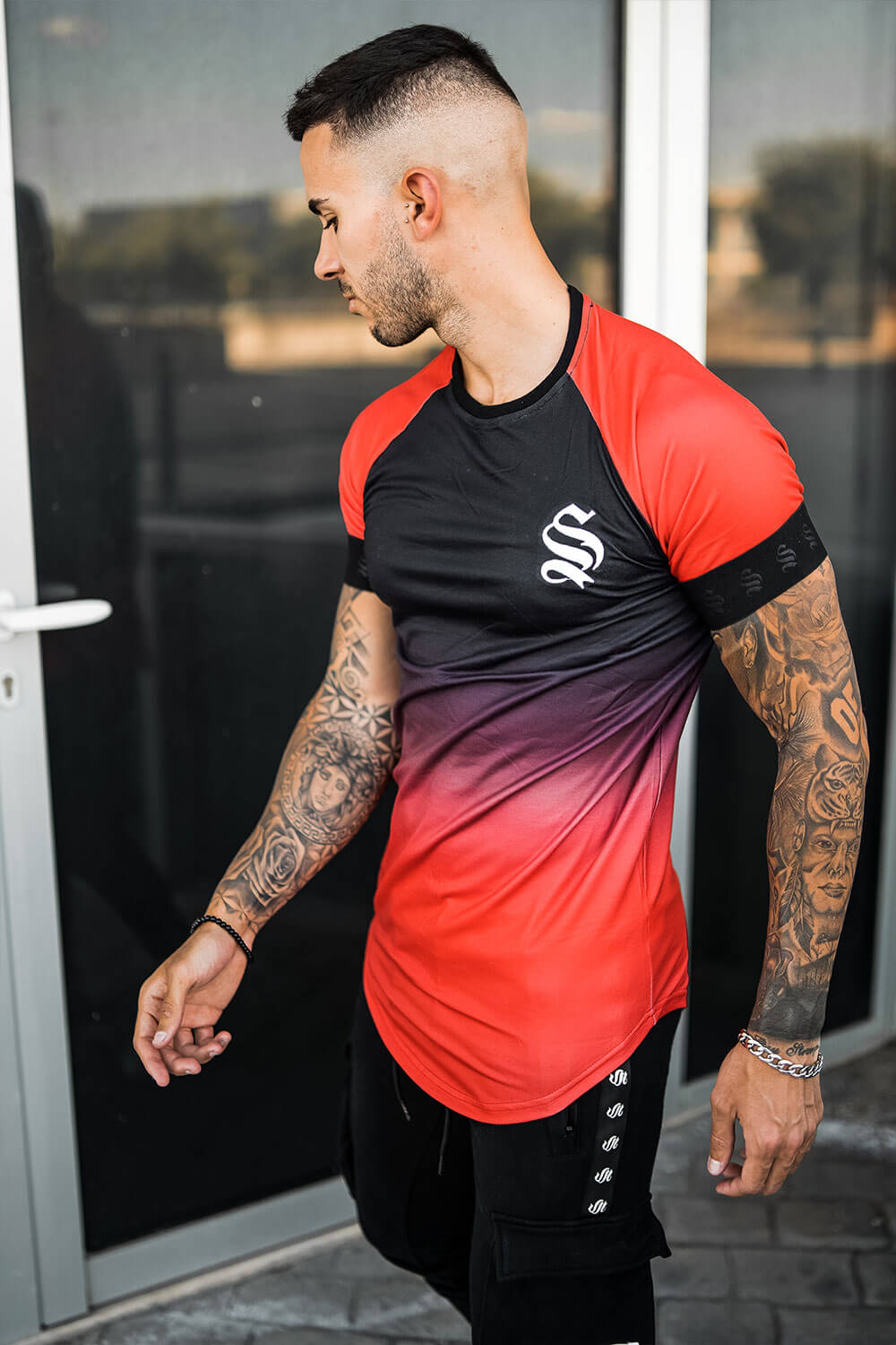 Dip Dye Raglan Tee - Black/Red