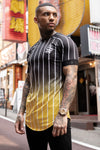 Pinstripe Fade Tee - Black/Yellow