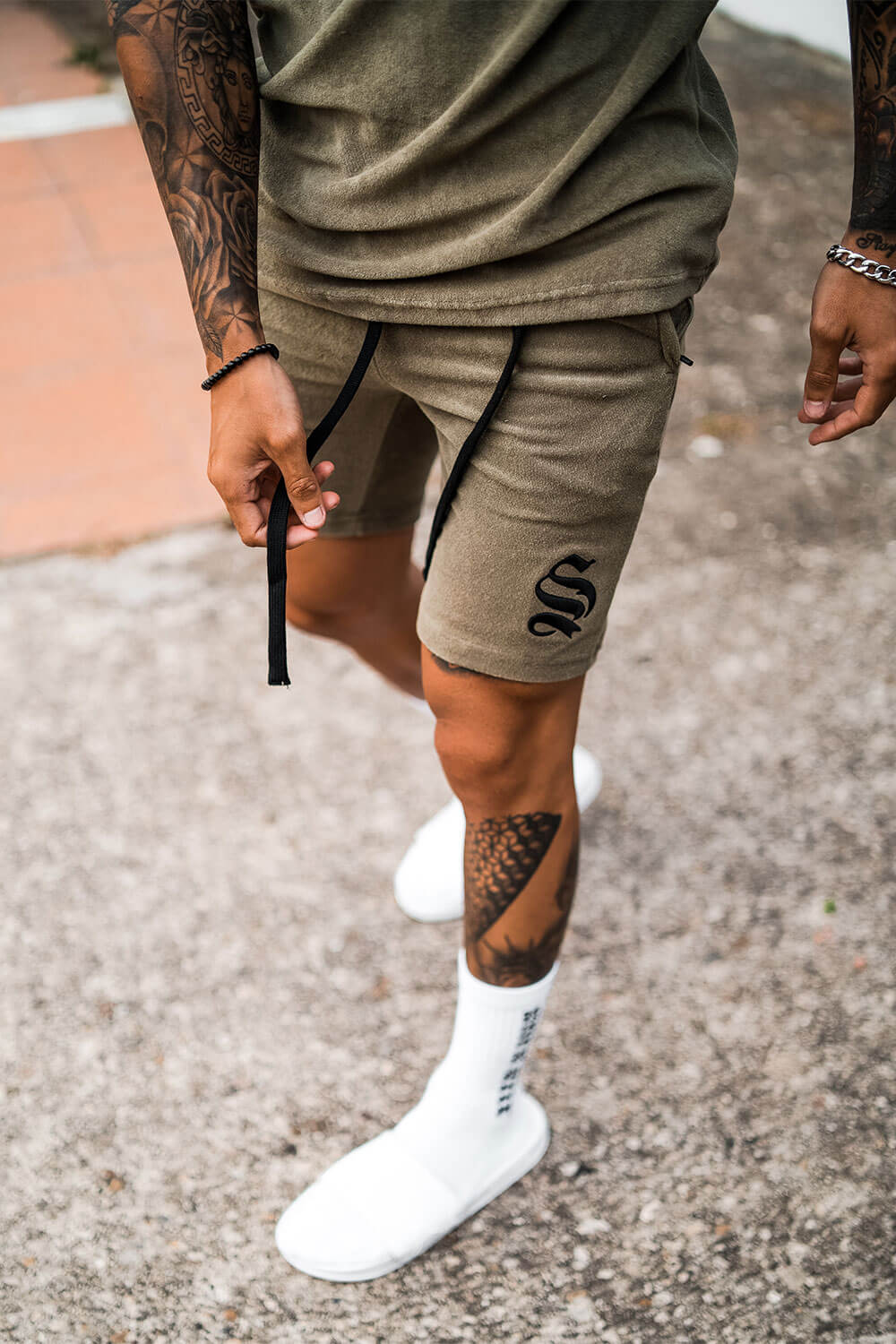 Towelling Shorts - Khaki