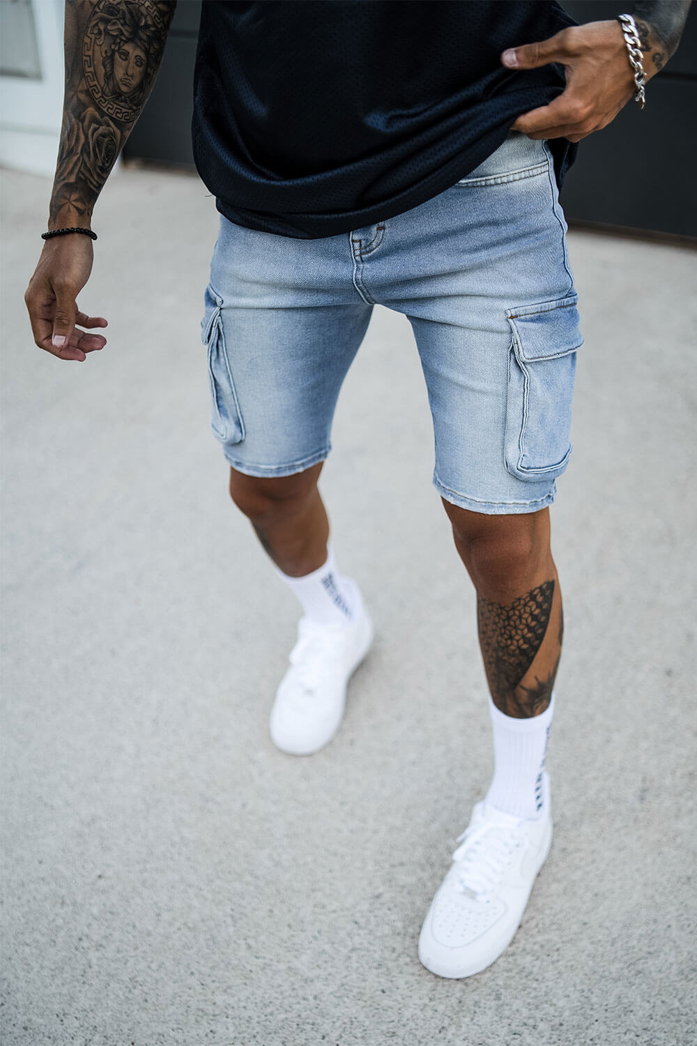 Cargo Utility Denim Shorts - Light Blue