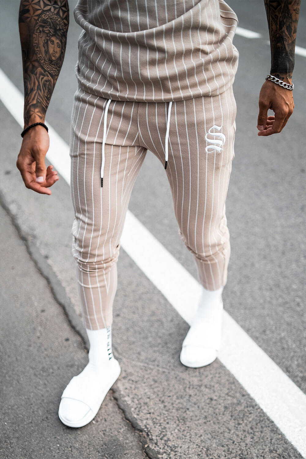 Pinstripe Joggers - Sand
