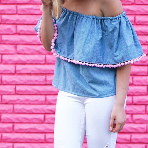 Chambray Pom Pom Top