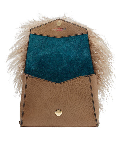 ANGLED BOX BAG-MONGOLIAN SHEEP FUR/ MINKY BEIGE