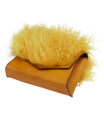 ANGLED BOX BAG WITH MONGOLIAN SHEEP FUR- MUSTARD/ YELLOW