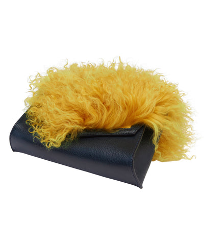 ANGLED BOX BAG WITH MONGOLIAN SHEEP FUR- NAVY / YELLOW