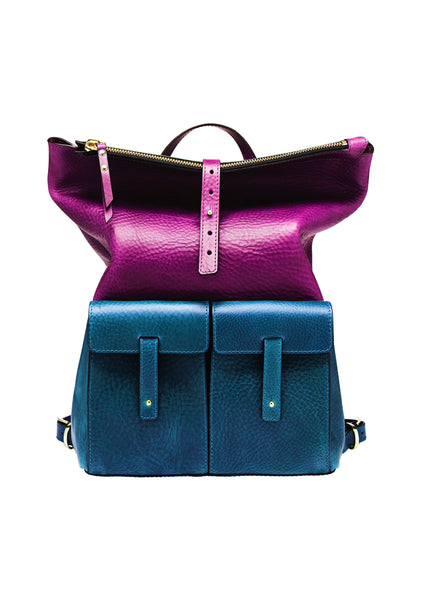 MEDIUM BACKPACK-TEAL/PURPLE