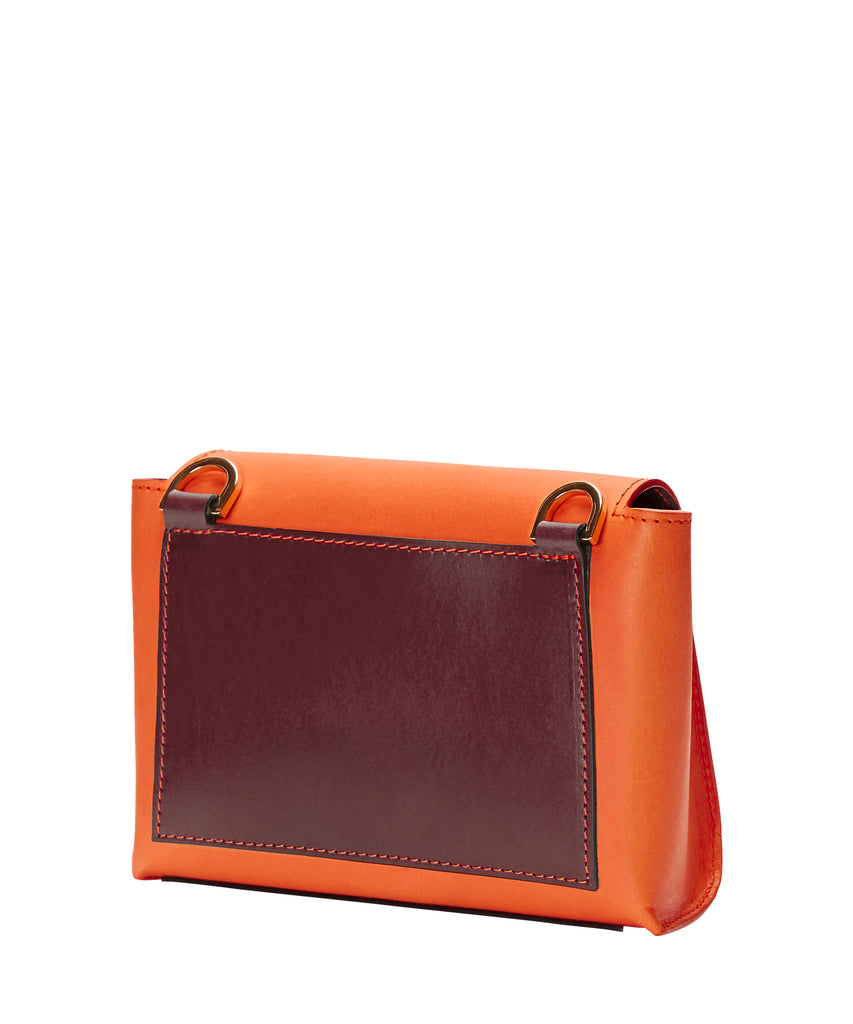 MINI BOX BAG: ORANGE & CRANBERRY