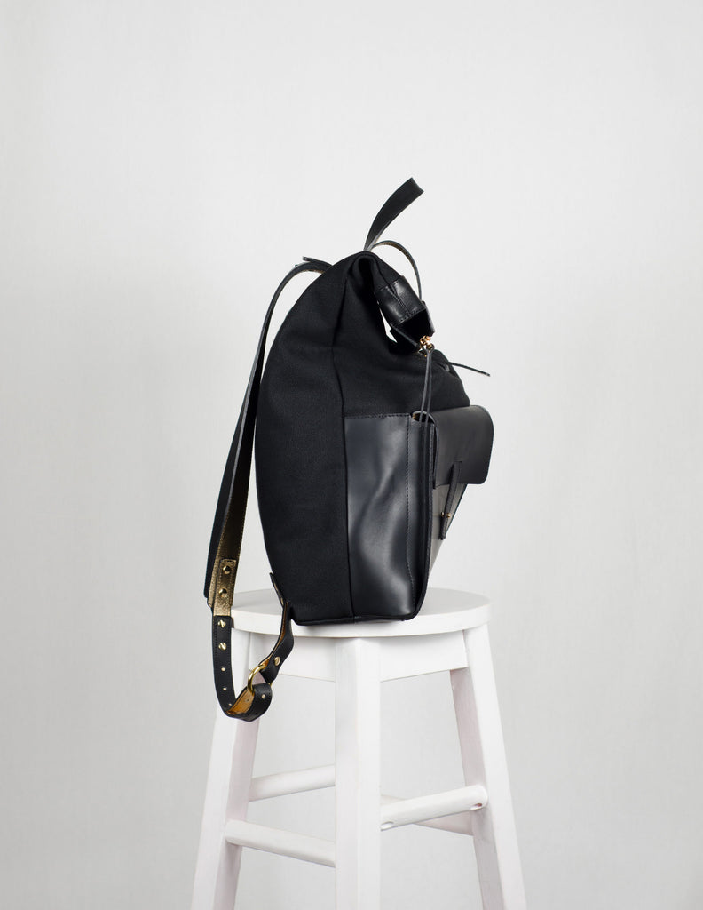 Large Black Canvas Backpack