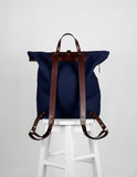 Large Chocolate|Navy Canvas Backpack