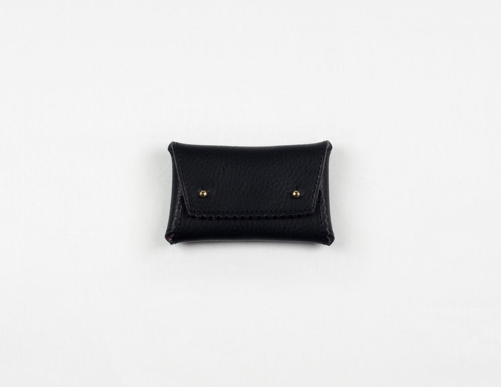 Black Zig Zag One-Piece Wallet (Pink Lamb Suede Lining)
