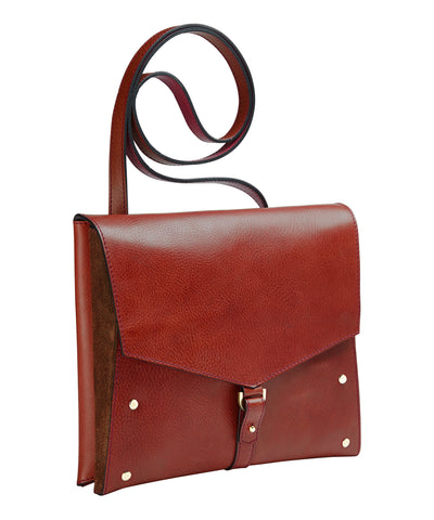 ONE FLAP BAG- BERRY/ RUST SUEDE