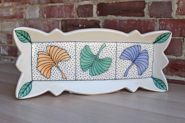 Neighborhood Potters (Philadelphia, PA) Oblong Tray Decorated with Gingko Leaves by Sandi Pierantozzi