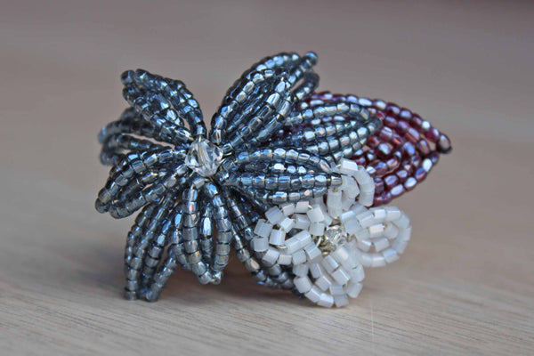 Handmade Glimmery Beaded Flower Brooch