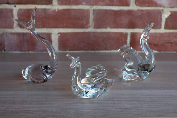 Clear Glass Snail Figurines, 3 Pieces