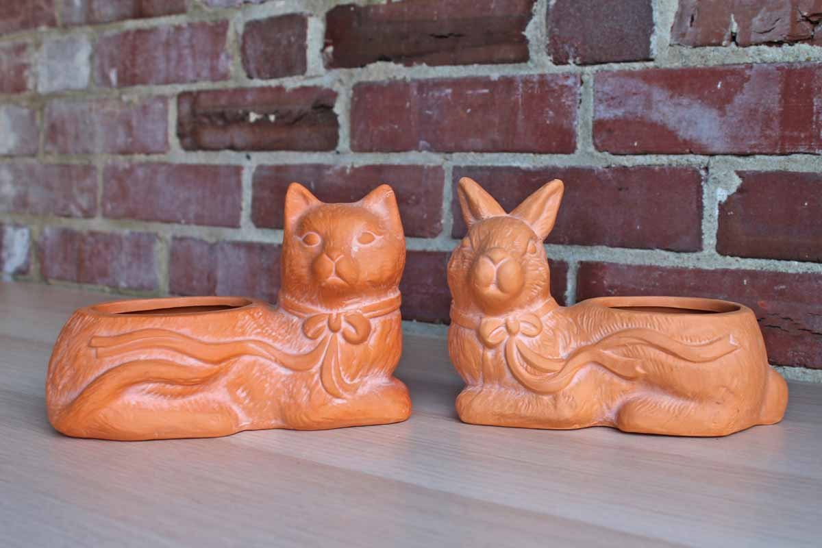 Cat and Rabbit Clay Plant Cachepots, A Pair
