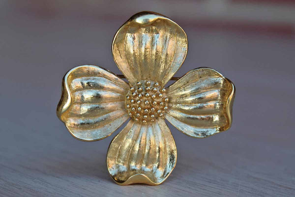 Trifari (USA) Brushed Satin Gold Tone Dogwood Flower Brooch