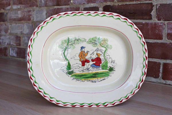 Adams (Tunstall, England) Green Elm Titian Ware Platter with Relaxing Men