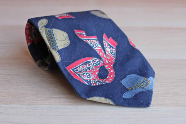 Structure Brand Necktie Decorated with Cowboy Hats and Red Paisley and Floral Bandanas