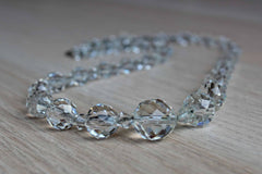 Simple Faceted Clear Crystal Bead Necklace