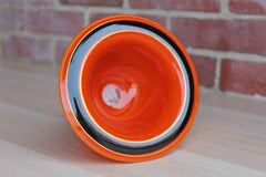 Art Deco Style Fired On Orange and Black Footed Candy Dish