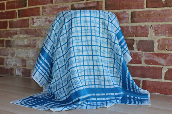Large Blue and White Striped Polyester Scarf