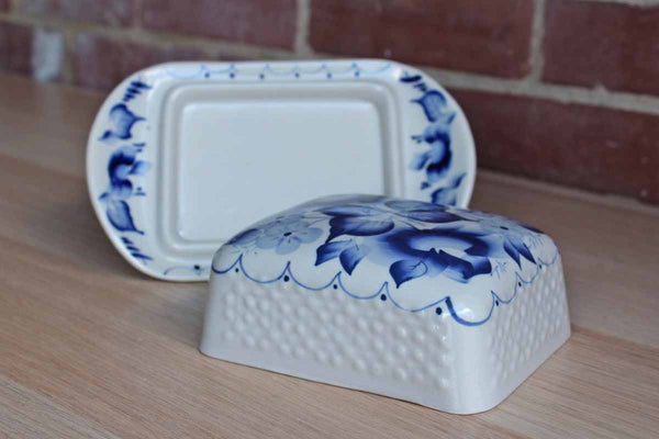 Blue and White Lidded Ceramic Cheese or Butter Dish Decorated with Flowers