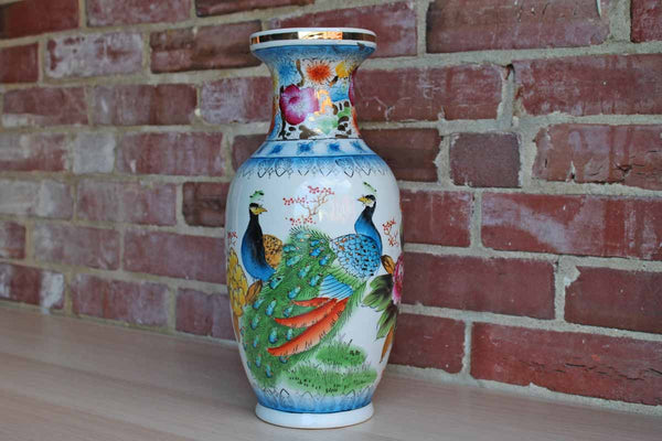 Large Porcelain Urn-Shaped Vase with Colorful Hand-Painted Peacoocks and Flowers