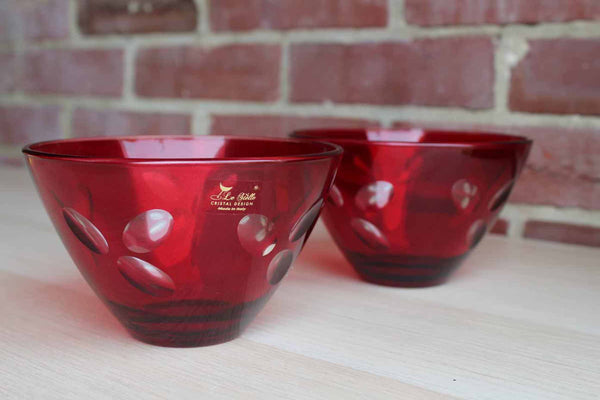 Le Stelle Crystal Designs (Italy) Ruby Glass Bowls with Clear Glass Petal Designs