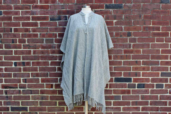 Gray and Cream Colored Wool Cape with Mandarin Collar