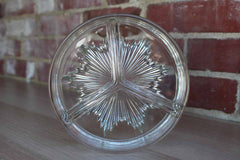 Triple Divided Clear Glass Serving Dish