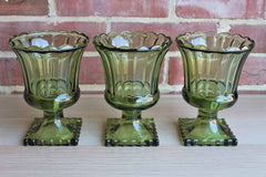 Green Pressed Glass Pedestal Urn Vases, Set of 3