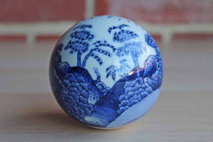 Blue and White Porcelain Ball with Painted Landscape Scene