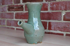 Handmade Speckled Green Stoneware Wine Porron