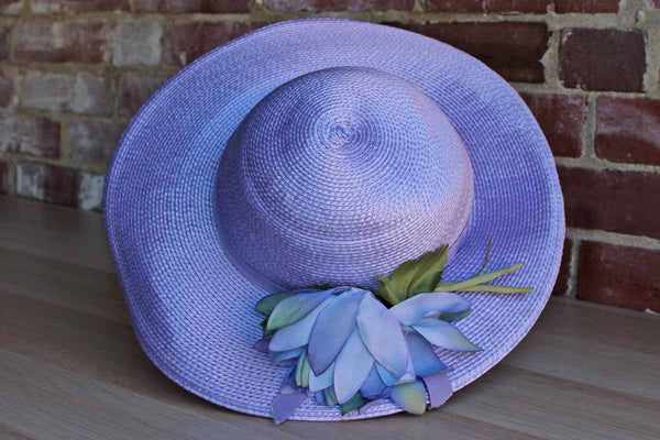 Miss Schiaparelli (Paris, France) Wide Brimmed Purple Straw Hat with Flower Decoration